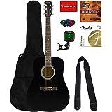 Fender Squier Dreadnought Acoustic Guitar - Black Bundle with Fender Play Online Lessons, Gig Bag, Tuner, Strings, Strap, Picks, and Austin Bazaar Instructional DVD