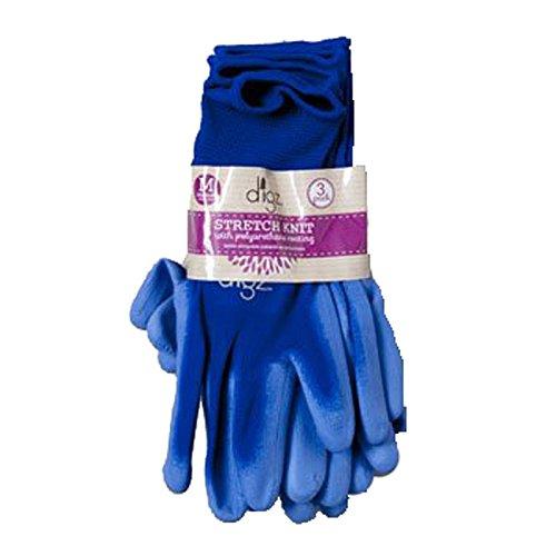 Set of 3 Nitrile Coated Stretch Knit Womens Medium Gloves Blue Comfort Fit Gloves (Set of 3) (Gorilla Gloves)