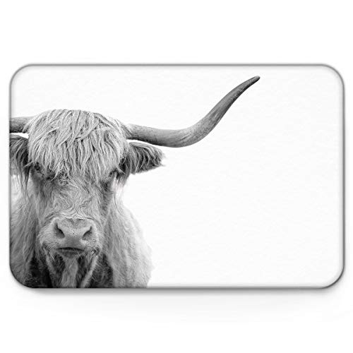 - YEHO Art Gallery Non-Slip Doormat for Indoor Kitchen Living Room Bedroom Apartment Home Collection,Grey Animal Highland Cow Pattern Carpet Entryway Mats Shoes Scraper,16 x 24 Inch