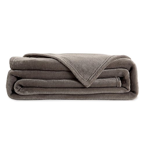 flannel throws bed blanket luxury grey queen size 90x90 inches lightweight plush ebay. Black Bedroom Furniture Sets. Home Design Ideas