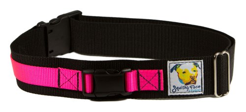 - Squishy Face Studio Hands Free Dog Leash Belt, Medium/Large, Neon Pink