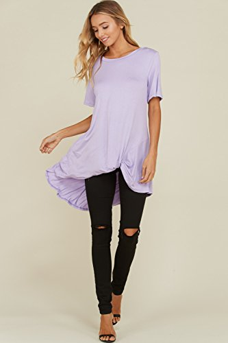 04a272de4b2 Annabelle Women s Plus Size Solid Front Knot Short Sleeved Round Necked  Soft and Snugged Material Top Lt Lavender 3X-Large T1179