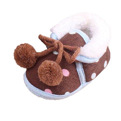 ❆Huhu833 Kinder Mode Baby Schuhe, Baby Keep Warm Soft Sohle Krippe Schuhe Anti-Rutsch Kleinkind Button Flats Baumwolle Stiefel (0~18 Month) Braun
