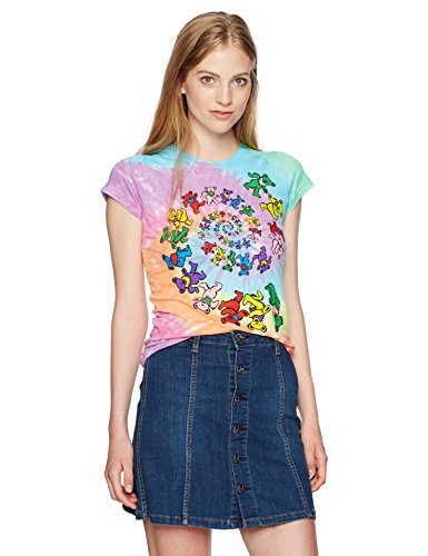 Liquid Blue Women's Grateful Dead Spiral Bear Rainbow Graphic Tee, Tie Dye, Large (Bear Womens Cut T-shirt)