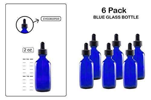 Round 2 Ounce Bottle (Eye Dropper/Glass Medicine Bottle, Amber Boston Cobalt Blue Round Bottles 2OZ. 6Pack - For Essential Oils, Scents, Travel, Perfume Kitchen, Bath, Cooking, Labs, Laundry, Cosmetic -Reusable-By Katzco)