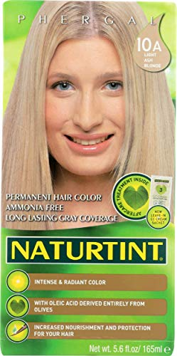 Naturtint Permanent Hair Color 10A Light Ash Blonde (Pack of 1), Ammonia Free, Vegan, Cruelty Free, up to 100% Gray Coverage, Long Lasting Results