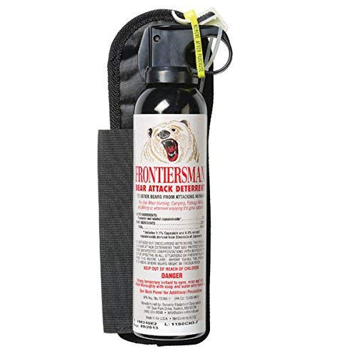 (SABRE Frontiersman Bear Spray 9.2 oz (Holster Options & Multi-Pack Options) - Maximum Strength, Maximum Range & Greatest Protective Barrier Per Burst! - Effective Against All Types of Bears)
