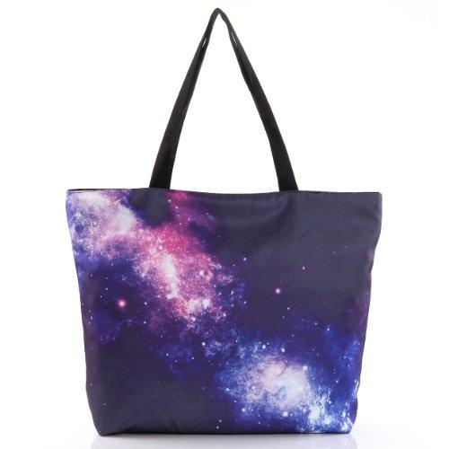 tal Print Zipper Tote Shopping Bag Shoulder Canvas Bag - Galaxy Space (Galaxy Canvas Shoulder Bag)