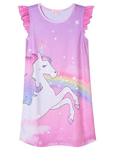 (Girls Princess Nightgowns Unicorn Pajamas Flutter Sleeve Cotton Night)