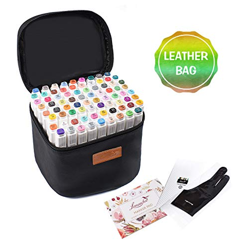 L'émouchet 80+1Colors Art Markers, Dual Tips Alcohol Markerswith Carrying Case, Artist Glove, Marker Pad and Color Card,Drawing Markersfor Coloring, Marking, Drawing and More