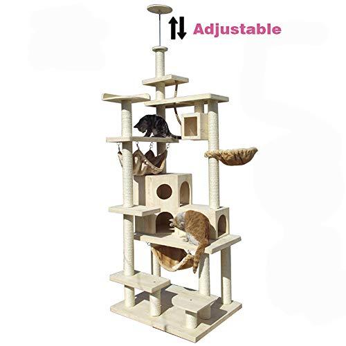 JLCYYSS Pet Luxury Massivholz Klettergerüst, Top einstellbare Kratzbaum, Multi-Layer Cat Jumping Plattform Cat Claw Board