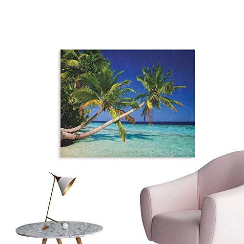 Anzhutwelve Ocean Photographic Wallpaper Maldives Bay Paradise Resort Summer in Pacific Holiday Destinations Space Poster Navy Blue Turquoise Green W36 xL32 ()