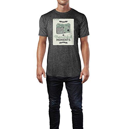 SINUS ART ® Life is Full of Beautiful Moments – Remember Them Herren T-Shirts in dunkelgrau Fun Shirt mit tollen Aufdruck