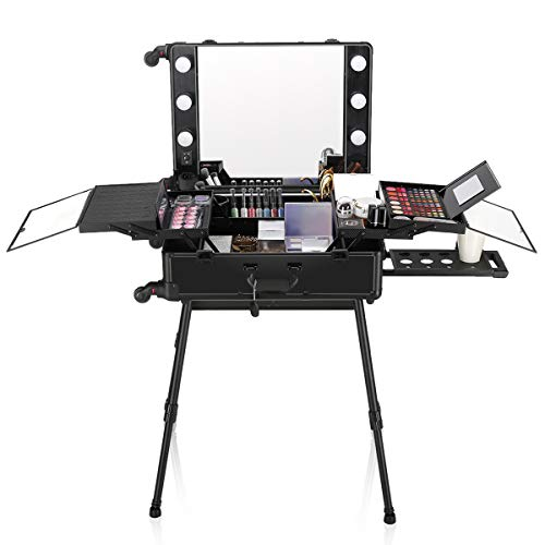 Ovonni LED Makeup Train Case, Lighted Rolling Travel Portable Cosmetic Organizer Box with Mirror & 4 Detachable Wheels, Professional Artist Trolley Studio Free Standing Workstation(Black)