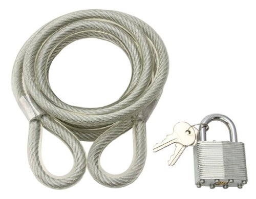 Cable Lock 72'' x 10mm Clear. Bike lock, bicycle lock for lowrider , beach cruiser, chopper, limo, stretch bike, bmx, track, fixie, mountain bikes by Lowrider