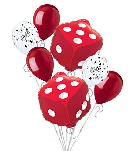 7 pc Las Vegas Red Dice Balloon Bouquet Party Decoration Birthday Craps Gamble