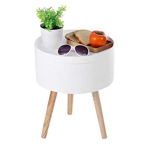 Greensen Modern Side Table, Solid Wood Storage Round Side End Table Coffee Table with Tabletop Tray Nightstand Bedroom Living Room Table Cabinet 38 x 45cm ()