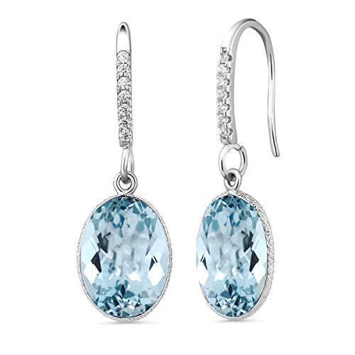 Gem Stone King Sterling Silver 14.00 Ct Blue Topaz 10x14mm Oval Shape Dangle Earrings
