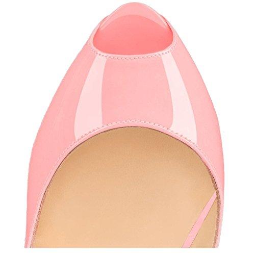 Rosso Donna EKS Scarpe con lackleder Pink Tacco OxHnzwAqa