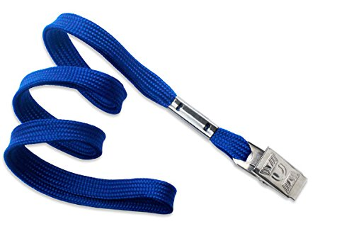 100 Royal Blue Flat Non-Breakaway Lanyards With Steel Bulldog Clip by Brady