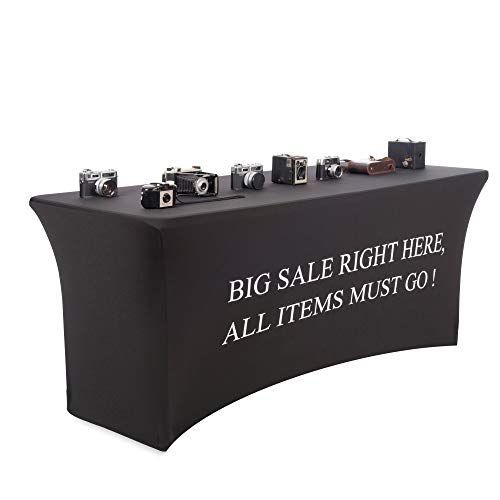 Buybility 6 Foot Black Spandex Table Cover Big Sale Right Here Printed On The Front. Pro 4 Way Stretch Premium Heavy Weight Fabric Fitted for Standard 6 ft Rectangular Table. Vendor Trade Event Kiosk