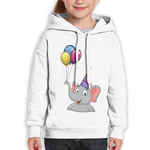 Bruins Piggy Bank (Grass8 The Elephant Has Balloons On Its Nose Youth Custom Hoodie 100% Cotton Fashion Keep Warm Sweatshirt Hooded Pullover For Girls & Boys L White)