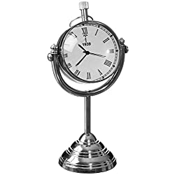 Sullivans Swivel Stand Table Clock Metal Silver Home Accessories
