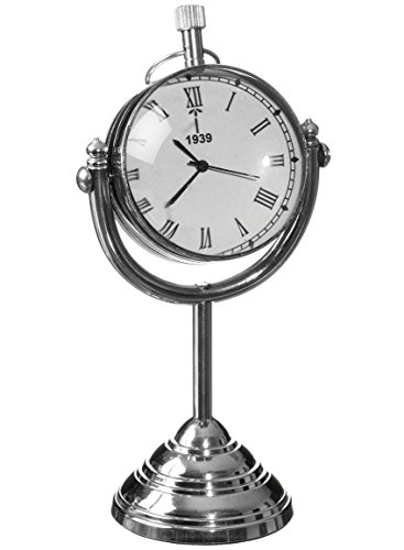 (Sullivans Swivel Stand Table Clock Metal Silver Home Accessories)