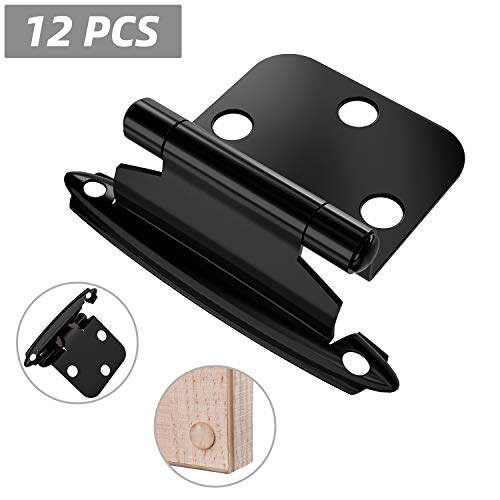 Hosom Overlay Cabinet Hinges Black 12pcs, Self Closing Hinge Face Mount for Kitchen Cupboard, with Door Bumpers