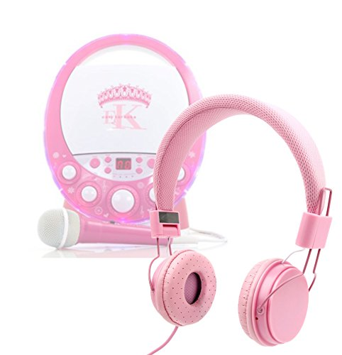 Price comparison product image DURAGADGET Pretty Pink Ultra-Stylish Kids Matching Fashion Headphones For Easy Karaoke EKR1588 Princess Karaoke Machine