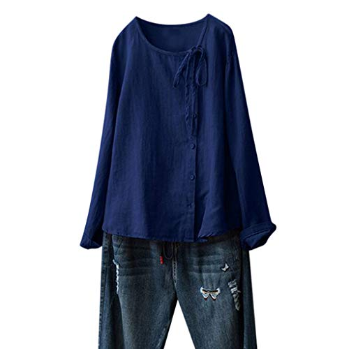 JustWin Button Long Sleeve Blouse Women's Summer Classic Solid Color Lace Bow Leisure Long Top Blue