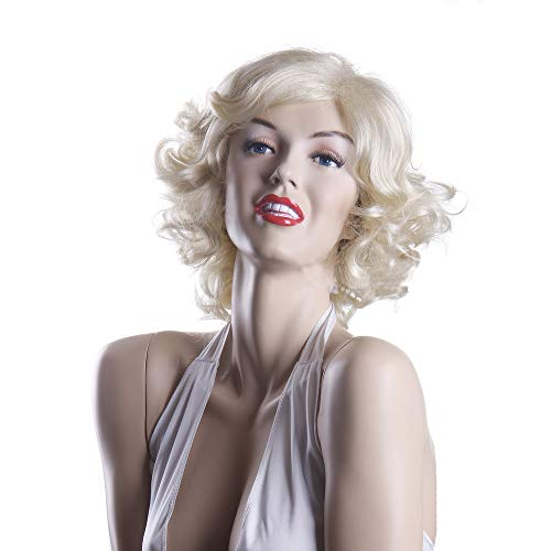 MELADY(Free Cap) Fashion Sexy Marilyn Style Costume Blonde Curly Synthetic Women Girls Lady Cosplay Wigs]()