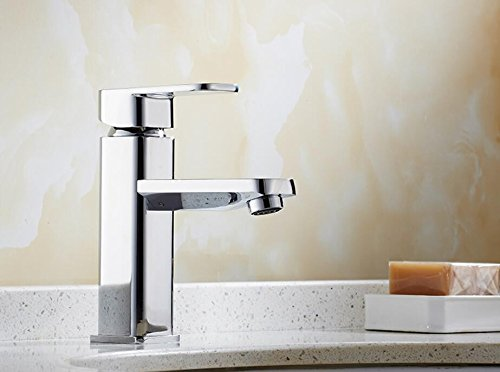 Mkkwp Luxus Waschbecken Wasserhahn Hochwertige Square Wasserhahn Chrom Einhebelsteuerung Heißen Und Kalten Badezimmer Waschbecken Mixer