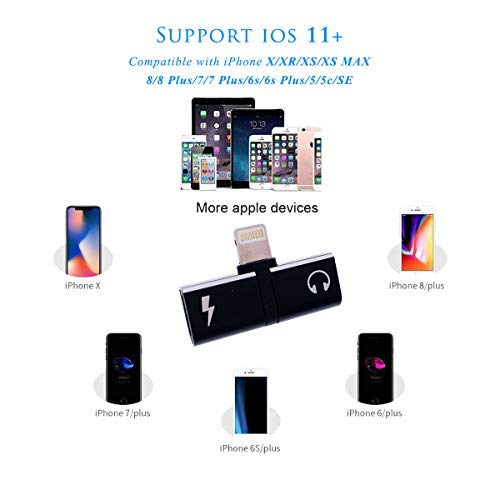 Dual Ports Adapter Splitter,T-Shaped 2 in 1 Headphone Aux Audio and Charger  Mini Adapter Cable Connector Compatible with IP 7/7 Plus / 8/8 Plus/X/Xs