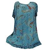 Mlide Women's Casual Short Sleeve Floral Dress O-Neck Print Patchwork Hollow Out Tops Shirt Blouse,Blue 3XL