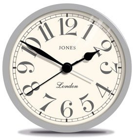 Jones Large Tibbet Alarm Clock In Grey