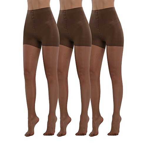 Pantyhose Run Non (BONAS Bodyshaper Pantyhose 3Pack High Waisted Shock Up Silky Stockings Control Top Tights)