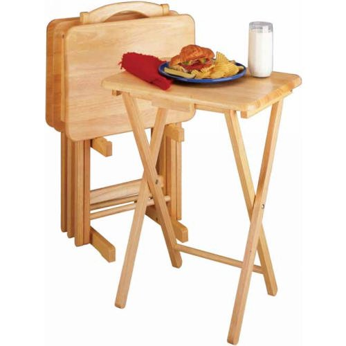 Winsome Tv Tray (Winsome TV Dining Tray Table - Set of 4 Plus Storage Stand in Natural)