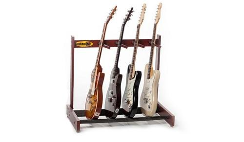 Rock Solid Guitar Stands The Classic Solid Mahogany 4 Multi Guitar Stand, Dark Cherry ()