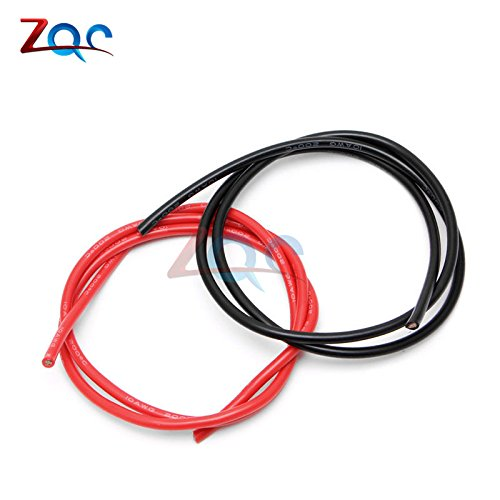 2M Red 1M = 2M 1set 10 AWG Gauge Wire Silicone Flexible Copper Stranded Cables for RC Black 1M