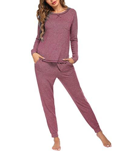 Ekouaer Pajamas Set for Women Cotton Long Sleeve Pullover and Drawstring Pj Pants Loungewear Sets S-XXL