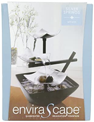 HoMedics WFL-SLVS Envirascape Silver Springs Illuminated Relaxation Fountain with Natural Stones