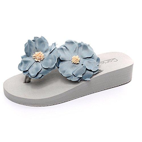 Blau Himmel Der 36 mit stilvolle und Sommer Hausschuhe Tide Strand Blumen handgemachte geschlitzten QingToo Beach Hausschuhe Piste 1gZ6Unqw