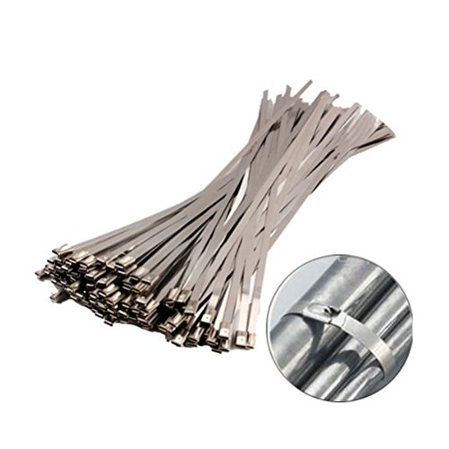 Amgate 100pcs 11.8 Inches Stainless Steel Cable Zip Ties Exhaust Wrap Coated Locking (Resistance Chemical Steel Stainless)