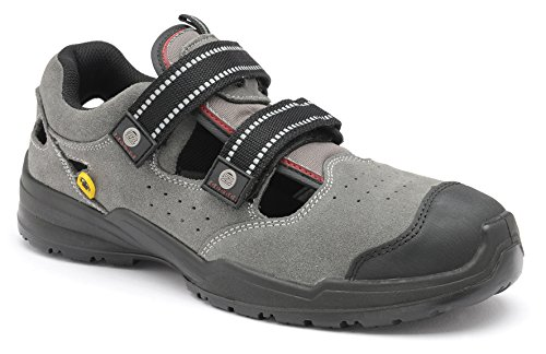 Zephyr ZX46 SB E A SRC ESD Grey Suede Steel Toe Cap Safety Trainers Work Sandals (US (Steel Toe Trainers)