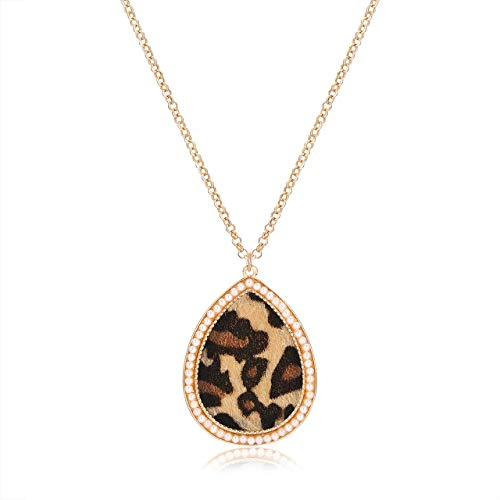 YOUMI Leopard Teardrop Pendant Necklace Oval Leopard Statement Necklace Pear Shape Bohemian Cheetah Long Chain Necklace (Beige) ()