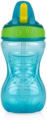 Copo com Canudo Rígido Retrátil, 300 ml, Nûby, Verde Água