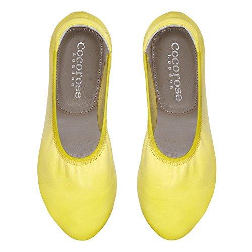 Cocorose London Plegable Zapatos - Bloomsbury Damas Ballet Zapatos Amarillo
