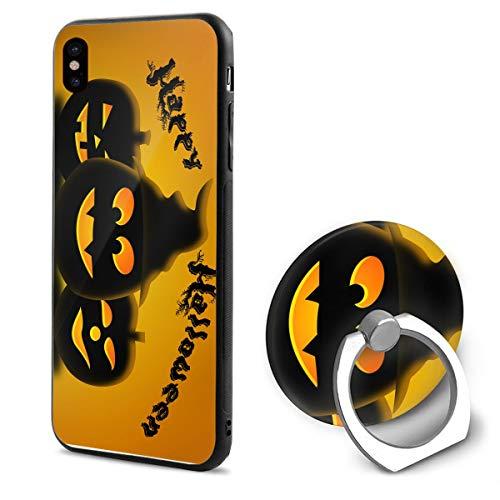 Barton Apple iPhone Xs Case(2018) / iPhone X Case(2017) + Finger Ring Stand Holder 360 Degree Rotating Combo Set - Halloween Pumpkin -