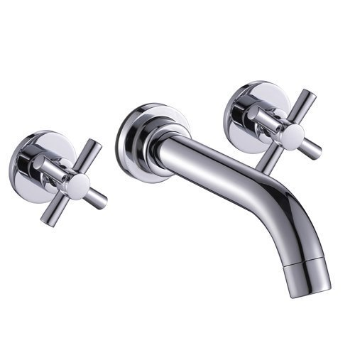 - Wovier Chrome Wall Mount Waterfall Bathroom Sink Faucet,Two Handle Three Hole Vessel Lavatory Faucet,Basin Mixer Tap